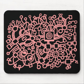 Abstract Structure - Soft Pink on Black Mouse Pad