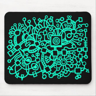 Abstract Structure - Turquoise on Black Mouse Pad