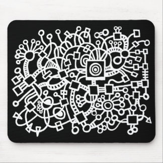 Abstract Structure - White on Black Mouse Pad