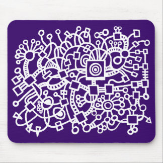 Abstract Structure - White on Deep Purple Mouse Pad