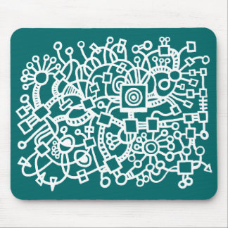 Abstract Structure - White on Moss Green Mouse Pad