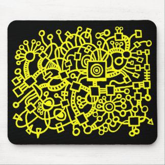 Abstract Structure - Yellow on Black Mouse Pad