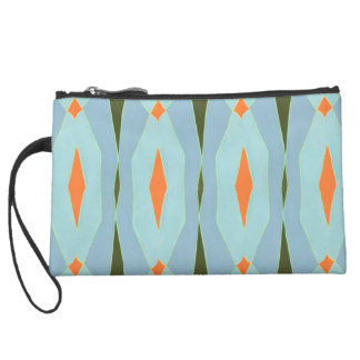 Abstract Suede Wristlet