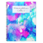 Abstract summer blue aqua pink watercolor paint note book