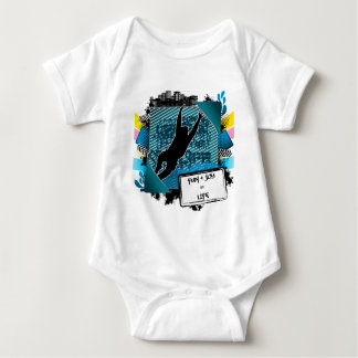 Abstract summer frame with man jumping silhouette baby bodysuit