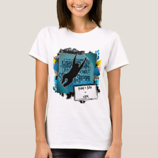 Abstract summer frame with man jumping silhouette T-Shirt