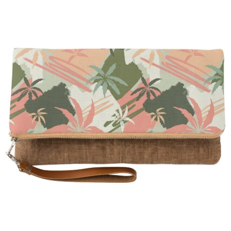 Abstract Summer Palm Tree Pattern Clutch