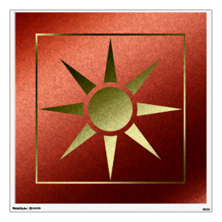 Abstract Sun Faux Orange Gold Foil Wall Decal