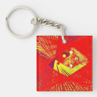 Abstract Sun Fish Single-Sided Square Acrylic Keychain