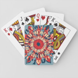 Abstract SUN FLOWER - red blue + your backgr. Playing Cards