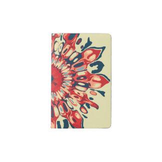 Abstract SUN FLOWER - red blue + your backgr. Pocket Moleskine Notebook