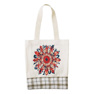 Abstract SUN FLOWER - red blue + your backgr. Zazzle HEART Tote Bag