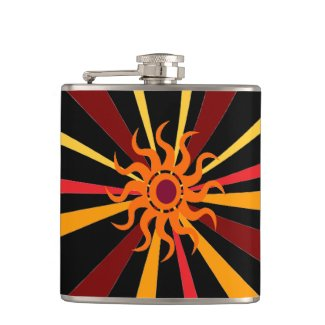 Abstract Sun Hip Flask
