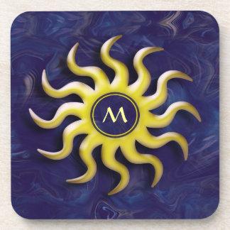 Abstract Sun Monogram Coaster