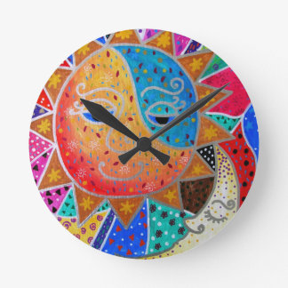 Abstract Sun & Moon by Prisarts Round Clock