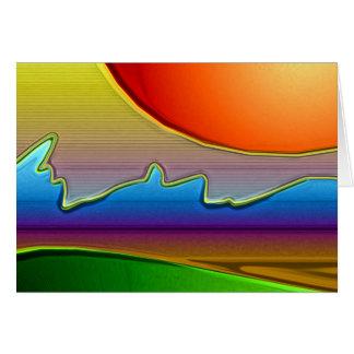 Abstract Sun Over Waves Art Card