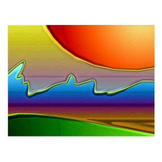 Abstract Sun Over Waves Art Postcard