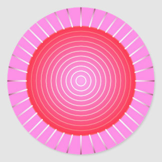 Abstract sunburst in coral, pink and silver classic round sticker