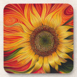 Abstract Sunflower Beverage Coaster