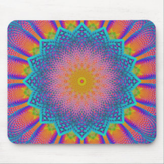 Abstract Sunflower Fractal Pixel Blue Mouse Pad