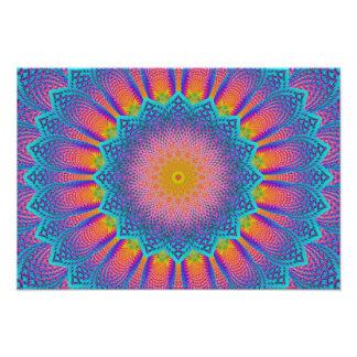 Abstract Sunflower Fractal Pixel Blue Photo Art