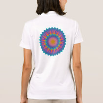 Abstract Sunflower Fractal Pixel Blue Polo Shirt