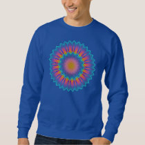 Abstract Sunflower Fractal Pixel Blue Sweatshirt
