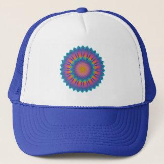 Abstract Sunflower Fractal Pixel Blue Trucker Hat