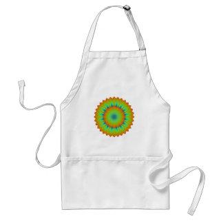Abstract Sunflower Fractal Pixel Green Apron