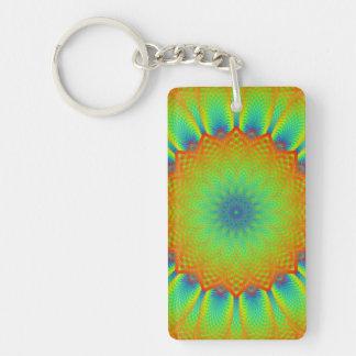 Abstract Sunflower Fractal Pixel Green Keychain