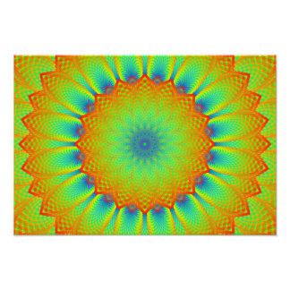 Abstract Sunflower Fractal Pixel Green Photo Art