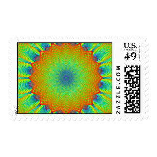 Abstract Sunflower Fractal Pixel Green Stamps