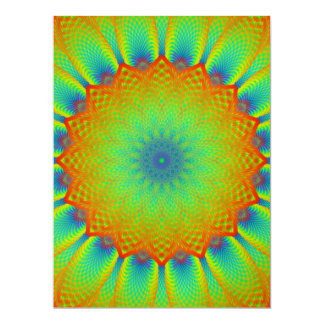 Abstract Sunflower Fractal Pixel Green Scrapbook Card