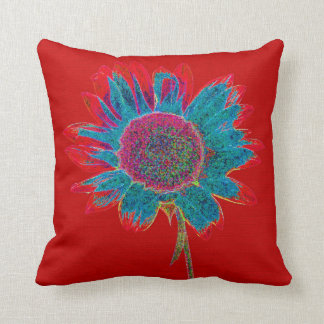 Abstract Sunflower on Intense Red Throw Pillow