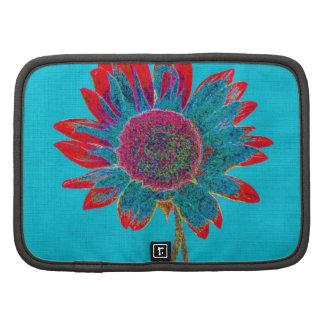 Abstract Sunflower on Peacock Blue Organizers