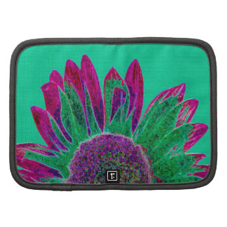 Abstract Sunflower on Pretty Green CU Folio Planners