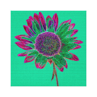 Abstract Sunflower on Pretty Teal Green Canvas Print