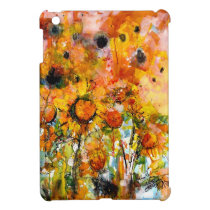 abstract, artsy, yellow, sunflowers, ipad mini, watercolors, modern, designs, ginette, flowers, floral, [[missing key: type_photousa_ipadminicas]] com design gráfico personalizado