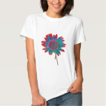 Abstract Sunflower with Peacock Colors T-shirt