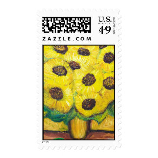 """""""Abstract Sunflowers in the vase"""" Stamp"""