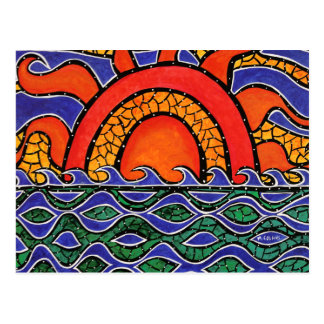 Abstract Sunset Colorful Art Postcard
