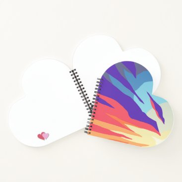 Beach Themed Abstract Sunset Heart-Shaped Spiral Notebook