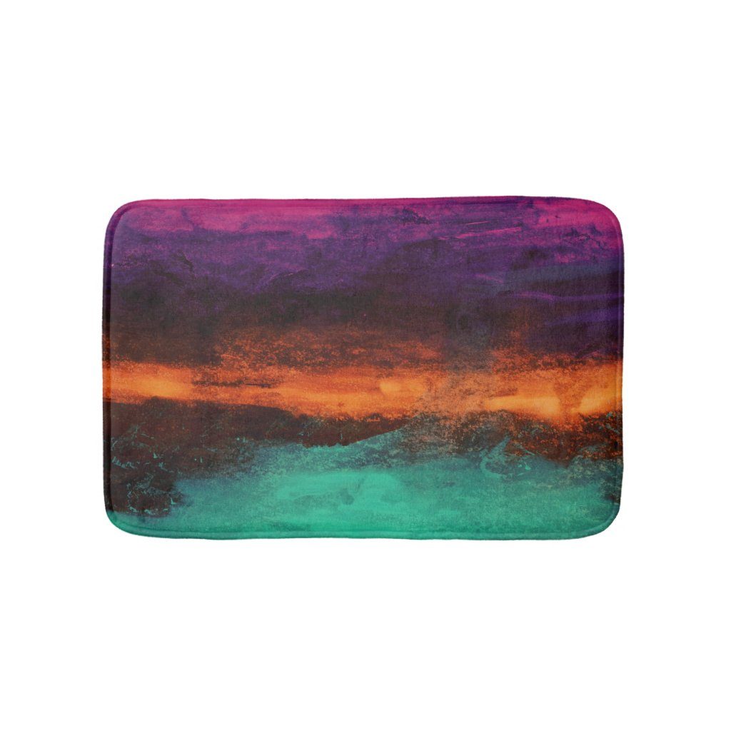 Abstract Sunset on Modern Water Landscape Bathroom Mat