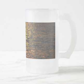 Abstract Sunset on Water Glass 16 Oz Frosted Glass Beer Mug