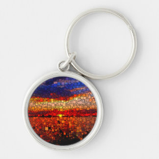 Abstract Sunset Silver-Colored Round Keychain