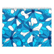 Abstract surf hibiscus calendar