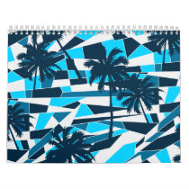 Abstract surf palm trees calendar