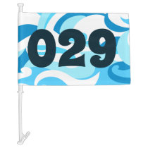 Abstract surf waves car flag