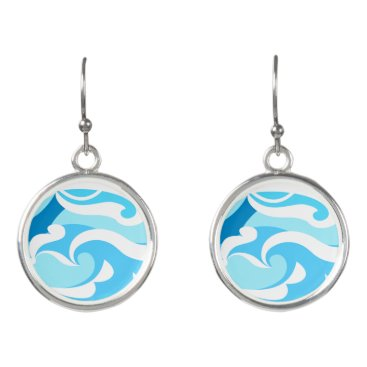 Beach Themed Abstract surf waves earrings