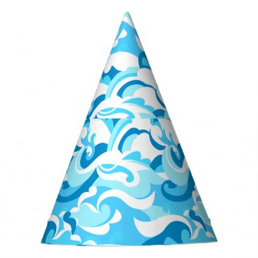Abstract surf waves party hat